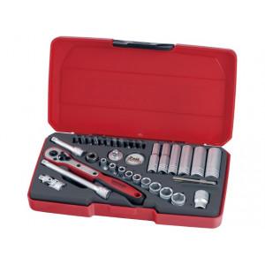 Teng Tools T1436 pipenøkkelsett med ¼-feste 36 deler verktøy.no