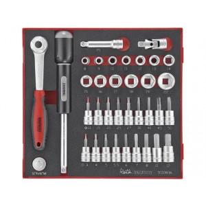 """Teng Tools 36 deler pipenøkkelsett med 3/8"""" firkantfeste TED3836 verktøy.no"""