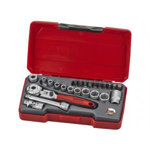 """Teng Tools pipenøkkelsett med 1/4"""" firkantfeste 24 deler T1424S verktøy.no"""