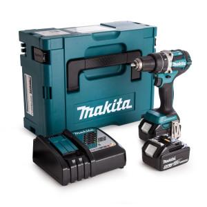 Makita 18V Slag-/Bormaskin i Makpac koffert med 2 x 18V 5,0Ah batteri DHP484RTJ