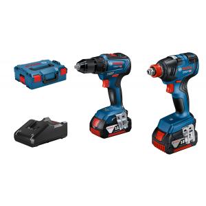 Bosch Combo-Kit GDX 18V-200 + GSR 18V-55 i L-BOXX med 2 x batterier GBA 18V 4.0Ah & Hurtiglader GAL 18V-40 Professional verktøy.no