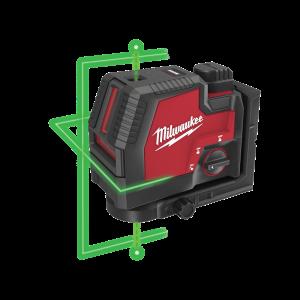 Milwaukee 12V Grønn Krysslaser med Fokuspunkter M12 CLLP i koffert med 1 x 12V 3,0Ah batteri & lader Verktøy.no