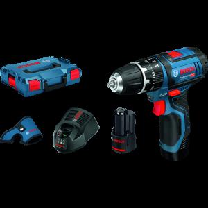 Bosch kombimaskin GSB 12V-15 i L-BOXX med 2 x 2Ah batterier og lader med hylster verktøy.no