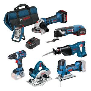 Bosch kampanjesett med syv maskiner og med bag, batterier og lader verktøy.no