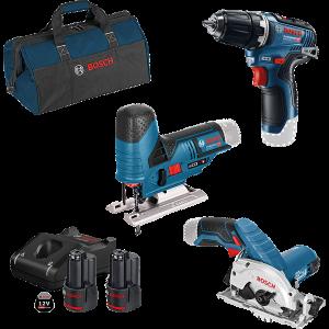 Bosch 12V verktøysett med 3 verktøy : GSR + GKS + GST +2 x GBA 3Ah batteri & GAL 12V-40 lader verktøy.no
