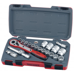 Teng Tools pipenøkkelsett (12 kant) T1221-P 21 Deler|Verktøy.no